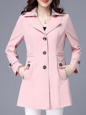 Lapel Long Sleeve Casual Buttoned Pockets Paneled Coat_1