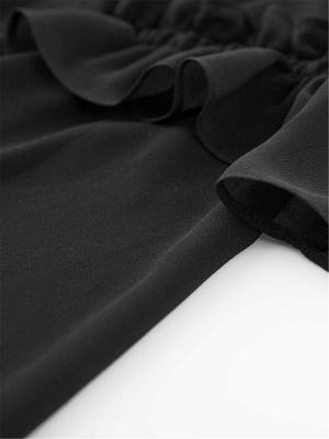 Crew Neck Casual Ruffled Long Sleeve Chiffon Coat_8