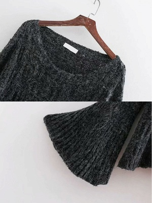 Knitted Shift Frill Sleeve Solid Casual Sweater_7