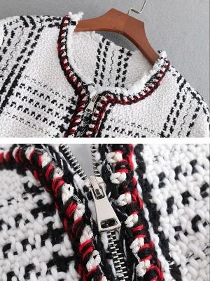 White Shift Casual Crew Neck Checkered/Plaid Zipper Pockets Coat_6