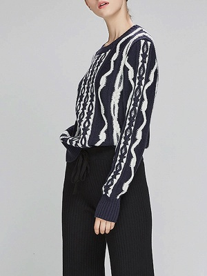 Navy Blue Cable Long Sleeve Casual Geometric Sweater_6