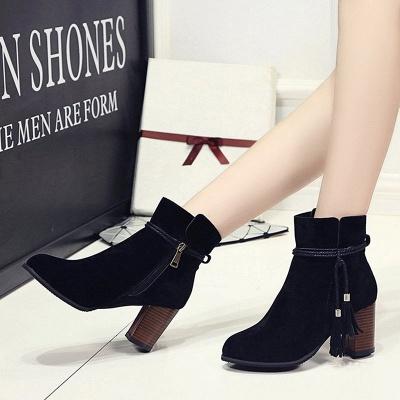 Chunky Heel Daily Tassel Zipper Elegant Boots_2