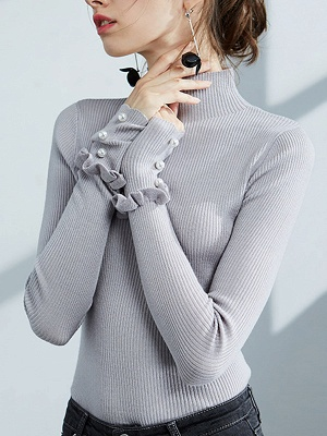 Turtleneck Long Sleeve Casual Sweater_2