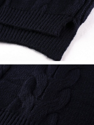 Long Sleeve Crew Neck Knitted Casual Sweater_7
