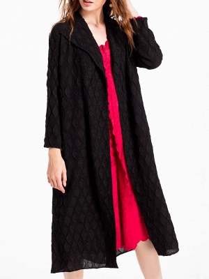 Long Sleeve Casual Slit Embossed Shawl Collar Solid Coat_5
