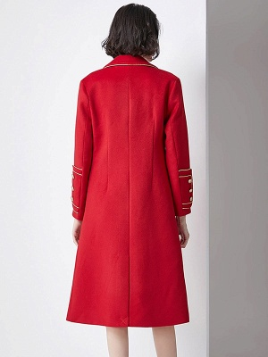 Red Buttoned Solid Work Pockets Lapel Coat_3