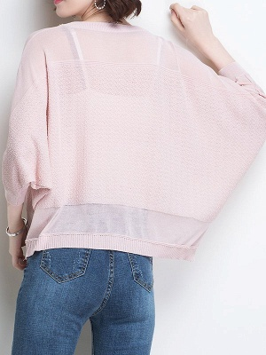 Casual Crew Neck Batwing Ice Yarn Knitted Shift Sweater_6