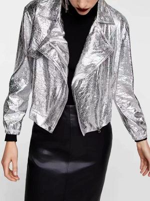 Silver Gathered Paneled Shirt Collar Zipper Pockets Coat_4