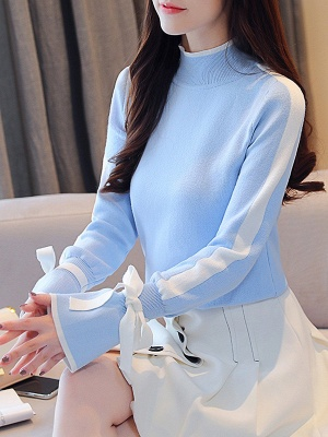 Turtleneck Casual Balloon Sleeve Paneled Sweater_2