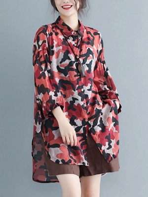 Camouflage Casual Long Sleeve Abstract Shift Printed Coat_1
