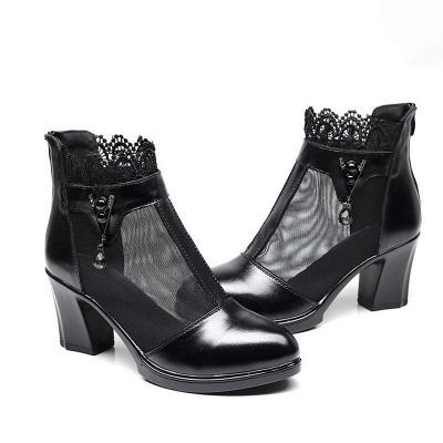 Chunky Heel Zipper Round Toe Elegant PU Boots_7