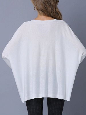 Solid Batwing Casual Knitted Crew Neck Sweater_5