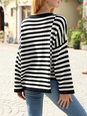 Black-white Long Sleeve Cotton Shift Printed Sweater_3