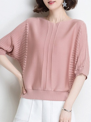 Ice Yarn Knitted Shift Casual Batwing Sweater_1