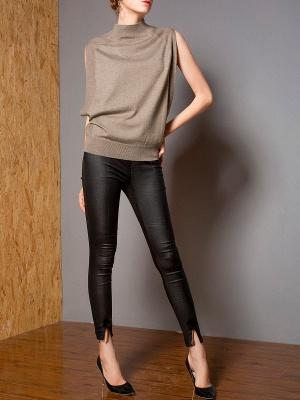 Khaki Solid Turtleneck Casual Sleeveless Shift Sweater_4
