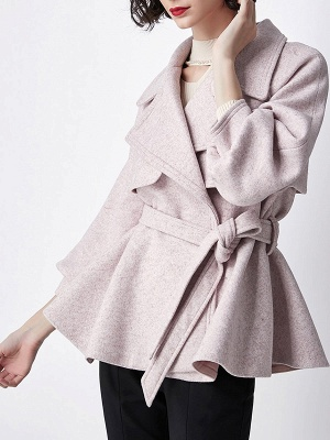 Light Pink Lapel Work Balloon Sleeve Paneled Coat_7