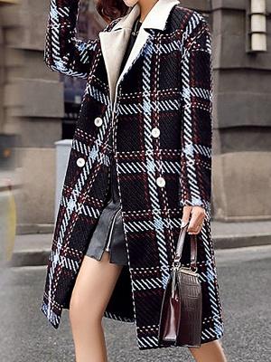 Black Color-block Long Sleeve Shawl Collar Coat_4