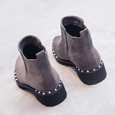 Gray Daily Rivet Pointed Toe Chunky Heel Boots_5