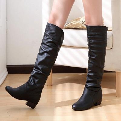 Chunky Heel Daily PU Round Toe Boot_3