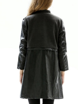 Black Long Sleeve Stand Collar Coat_3