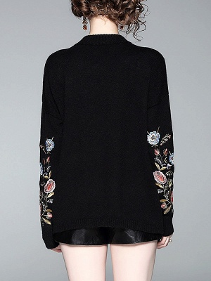 Black Shift Embroidered Crew Neck Long Sleeve Sweater_3