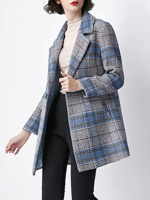 Blue Checkered/Plaid Work Buttoned Pockets Coat_4