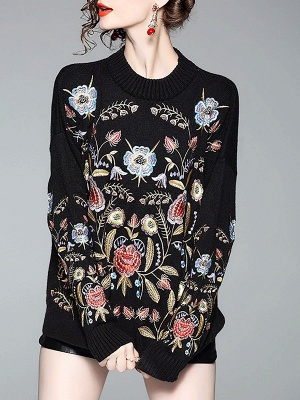 Black Shift Embroidered Crew Neck Long Sleeve Sweater_1