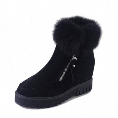 Zipper Fall Suede Chunky Heel Round Toe Boot_12