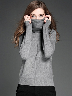 Paneled Solid Long Sleeve Casual Sweater_4