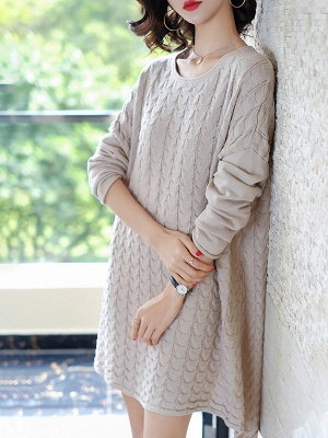 Shift Casual Ice Yarn Knit Cable Sweater_3
