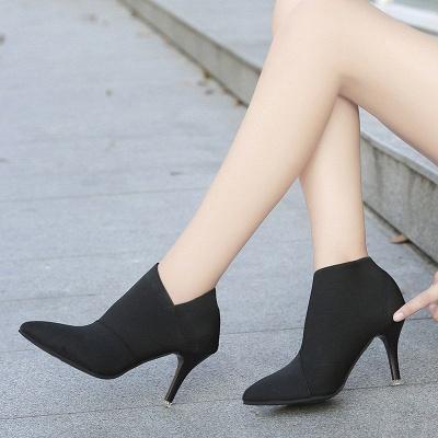 Pointed Toe Stiletto Heel Elegant Boots_3