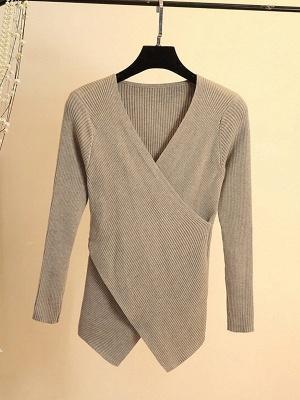 Cotton Sheath Casual Long Sleeve Sweater_6