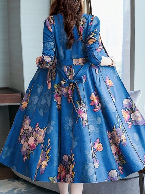 Floral Shawl Collar A-line Floral-print Pockets Long Sleeve Coat_5