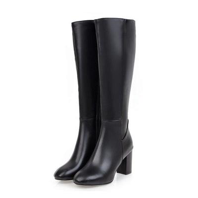 Zipper Chunky Heel Daily Round Toe Elegant Boots_3