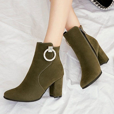 Suede Chunky Heel Working Square Toe Boots_3