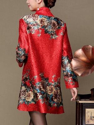 Asymmetrical Long Sleeve Shawl Collar Casual Crinkled Printed Coat_12