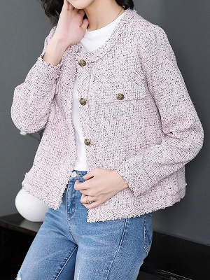 Pink Casual Buttoned Long Sleeve Coat_6