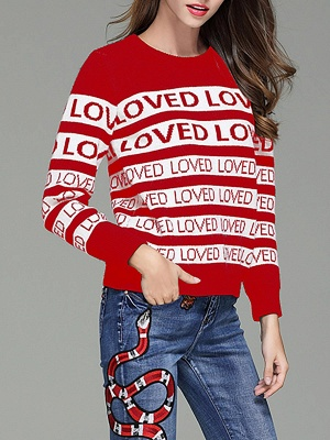 Casual Long Sleeve Letter Sweater_1