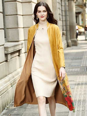 Long Sleeve Stand Collar Floral Printed Pockets Coat_9