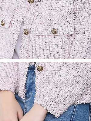 Pink Casual Buttoned Long Sleeve Coat_5