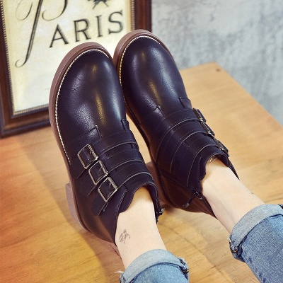 Zipper Daily Chunky Heel Round Toe Buckle Boots_5