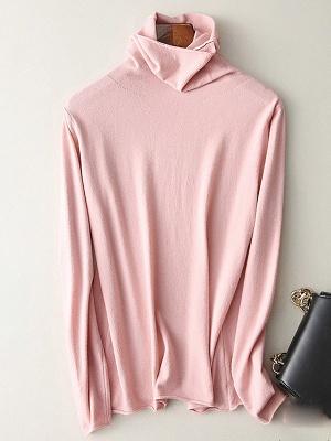 Casual Sheath Turtleneck Long Sleeve Sweater_2