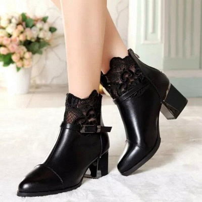 Daily Buckle Chunky Heel Pointed Toe Zipper Boots_6
