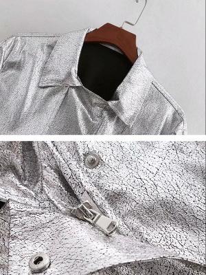 Silver Gathered Paneled Shirt Collar Zipper Pockets Coat_5