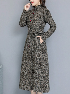 Gray Stand Collar Shift Long Sleeve Pockets Buttoned Coat_1
