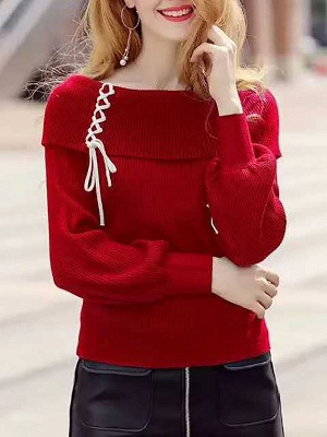 Solid Long Sleeve Casual Shift Sweater_1