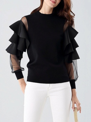 Long Sleeve Crew Neck Casual Knitted Ruffled Sweater_1