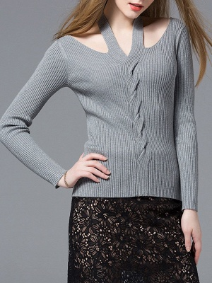Gray Knitted Halter Simple Sweater_1