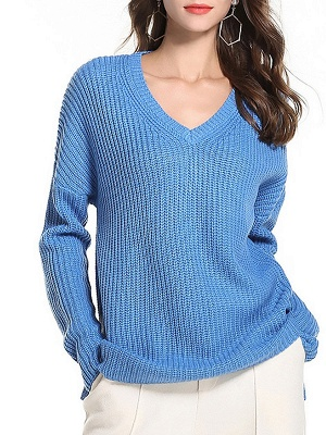 Casual Long Sleeve Knitted V neck Sweater_3