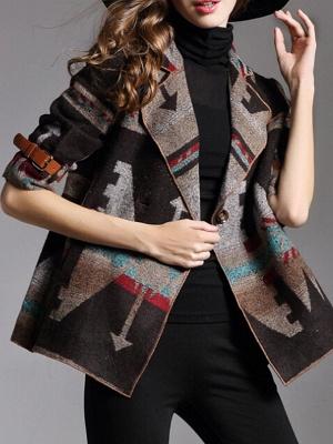 Khaki 3/4 Sleeve V neck Cotton Buttoned Coat_4